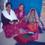 "Dr Charu Gidwani (centre) ""at home"" with friends, in the Sindhi-speaking area of Banni"